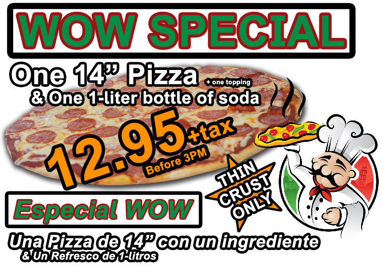 "One 14"" Pizza, One Topping, & One 1-liter of soda for 9.95 +tax before 3PM"